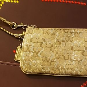Gold coach wallet new